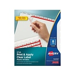 Avery Index Maker Print & Apply Labe Plastic Dividers, 8-Tab, Clear, 5 Sets/Pack (12450)
