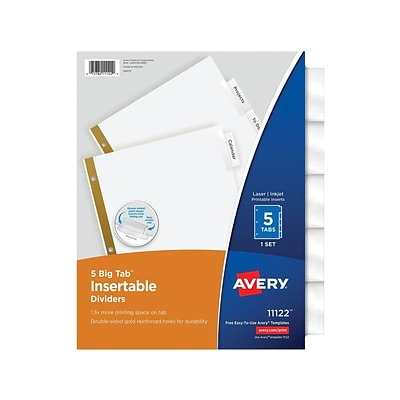 Avery Big Tab Insertable Paper Dividers, 5-Tab, Clear (11122)