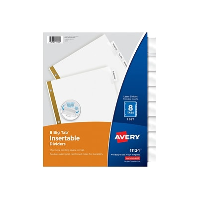 Avery Big Tab Insertable Paper Dividers, 8-Tab, Clear (11124)