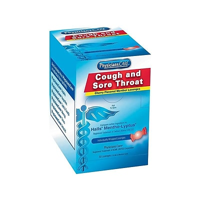 PhysiciansCare Cough & Sore Throat Lozenges, Cherry, 50/Box (90306)
