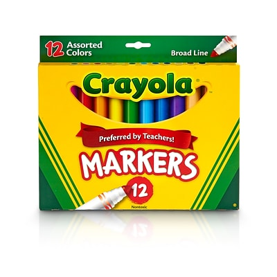 Crayola Kids Markers, Broad Line, Assorted Colors, 12/Box (58-7712)