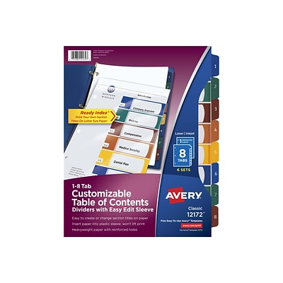 Avery Ready Index Easy Edit Table Of Contents Plastic 8 Tab Dividers Multicolor 6