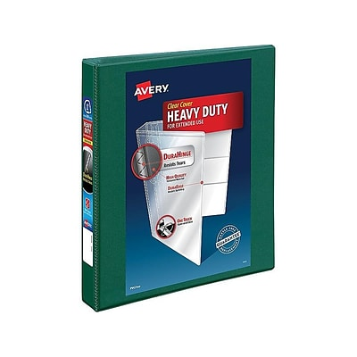 Avery Heavy-Duty View Binder, 1 One Touch Rings, 275 Sheet Capacity, DuraHinge, Green (79172)