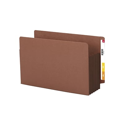 Smead® Reinforced End-Tab File Pockets, 5-1/4 Expansion, Extra Wide Legal, Redrope with Dark Brown Gusset, 10/Bx (74691)
