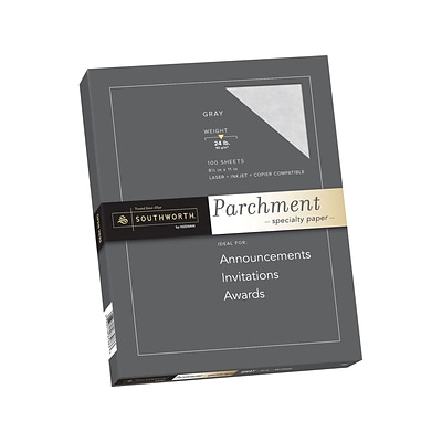 Southworth Parchment Specialty Multipurpose Paper, 24 lbs, 8.5 x 11, Gray, 100/Box (P974CK/3/36)