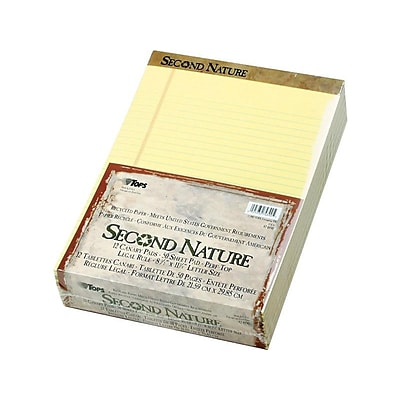 TOPS Second Nature Notepads, 8.5 x 11.75, Wide, Canary, 50 Sheets/Pad, 12 Pads/Pack (74890)