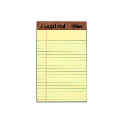 TOPS The Legal Pad Notepads, 5 x 8, Legal, Canary, 50 Sheets/Pad, 12 Pads/Pack (TOP 7501)