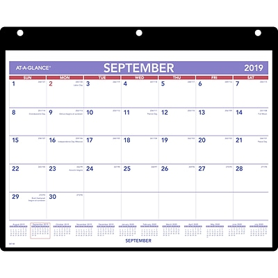 At A Glance Calendar.2019 2020 At A Glance 11 X 8 1 4 Academic Desk Wall Calendar With Cover And Vinyl Holder September Start 16mo Sk7 00 20