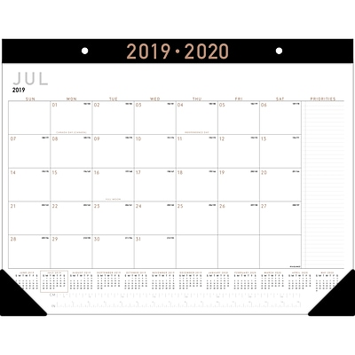2019-2020 At-A-Glance® 21 3/4 x 17  Academic Monthly Desk Pad Calendar, 12 Months,  July Start, Contemporary (Ay24x-00-20)