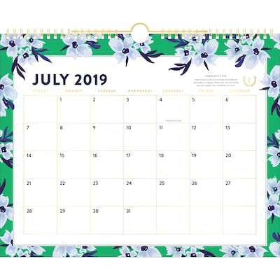 "2019-2020 Simplified 14 7/8"" x 11 7/8"" Academic Monthly Wall Calendar, 12 Months, July Start, Green Floral (El201-707a-20)"