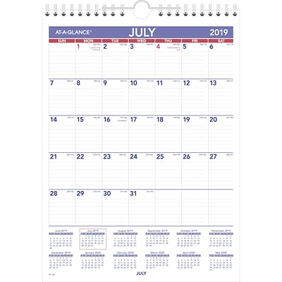 2019-2020 At-A-Glance® 8 x 11 Academic Mini Monthly Wall Calendar, 12 Months, July Start, Wirebound (Ay1-28-20)