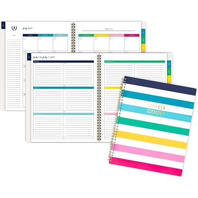 2019-2020 Simplified 8 3/8 x 11 Academic Weekly/Monthly Planner, 12 Months, July Start, Happy Stripe (El201-905a-20)