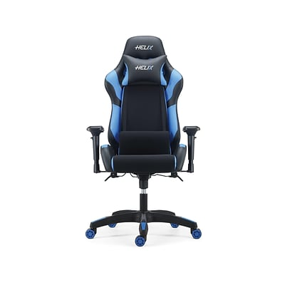 Fine Quill Brand Helix Fabric Racing Gaming Chair Black Blue 53100 Machost Co Dining Chair Design Ideas Machostcouk