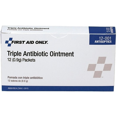 First Aid Only Triple Antibiotic Ointment, 0.02 oz., 12/Box 12-001