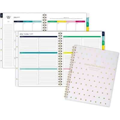 2019-2020 Simplified 8 3/8 x 11 Customizable Academic Weekly/Monthly Planner, 12 Months, July Start, Gold Dot (El200-901a-20)