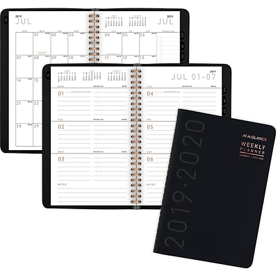 2019-2020 At-A-Glance 4 7/8 X 8 Academic Contemporary Planner, Weekly/Monthly, 12 Months, July Start, Black (70-101x-05-20)