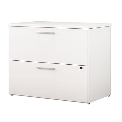 Bush Business Furniture 400 Series 36W 2 Drawer Lateral File Cabinet, White, Installed (400SFL236WHKFA)