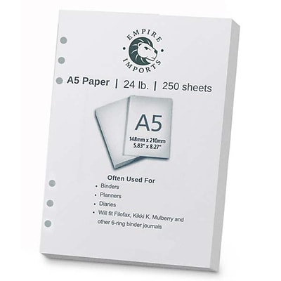 Empire Imports Punched Paper, A5 Size 6-Hole, 250 Sheets, 24 lb., White, Ream(A56HR)