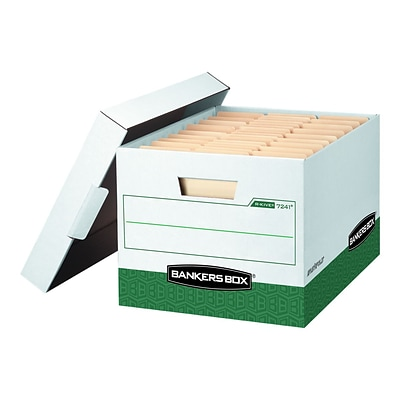 Bankers Box R-Kive Corrugated Boxes, Letter/Legal Size, White/Green, 12/Carton (07241)