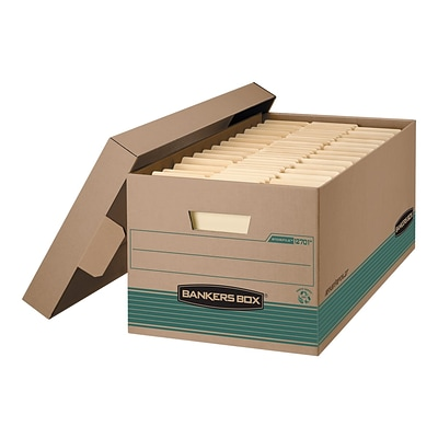 Bankers Box Stor/File Corrugated Boxes, Letter Size, Green/Kraft, 12/Carton (1270101)
