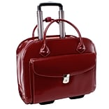 McKlein Granville, Wheeled Ladies Laptop Briefcase, Top Grain Cowhide Leather with Faux Leather Tri