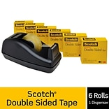 Scotch® Permanent Double Sided Tape w/Desktop Dispenser,  1/2 x 25 yds., 1 Core, 6 Rolls (MMM6656P