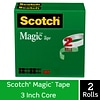 Scotch® Magic™ Tape Refill, Invisible, Write On, Matte Finish, 1/2 x 72 yds., 3 Core, 2 Rolls (810