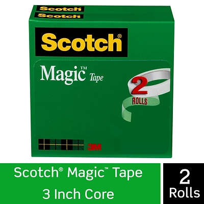 Scotch® Magic™ Tape Refill, Invisible, Write On, Matte Finish, 1/2 x 72 yds., 3 Core, 2 Rolls (810-2P12-72)