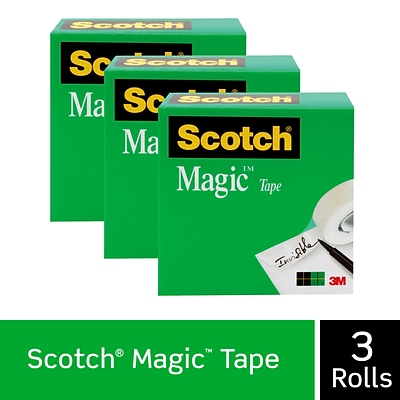 Scotch® Magic™ Tape Refill, Invisible, Write On, Matte Finish, 1 x 72 yds., 3 Core, 3 Rolls (810-72-3PK)