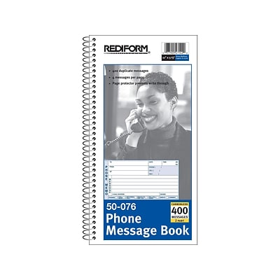 Rediform Phone Message Pad, 3 x 5, Unruled, White/Blue, 100 Sheets/Pad (50076)