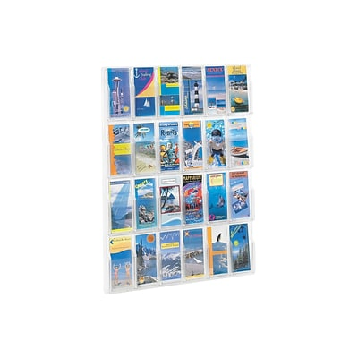Safco® Deluxe Crystal-Clear One-Piece Brochure/Pamphlet Racks, 24 Pockets