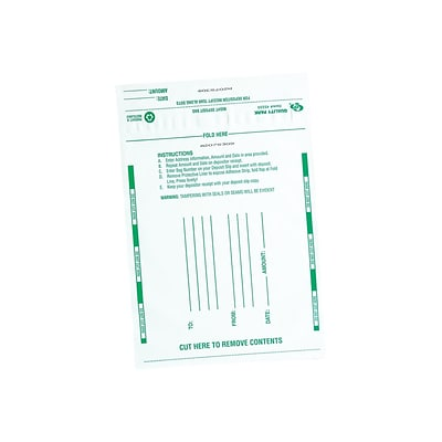 Quality Park Night Deposit Bags, Opaque White 100/Box (QUA45224)
