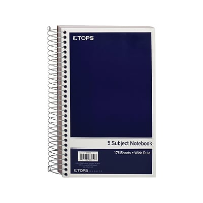 TOPS Oxford 5-Subject Notebook, 6 x 9.5, Wide Ruled, 175 Sheets, Navy (TOP 63859)