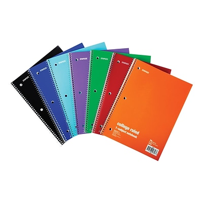 Staples 1-Subject Notebook, 8 x 10.5, College Ruled, 70 Sheets, Assorted (27498M)