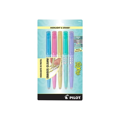 Pilot FriXion Light Pastel Erasable Highlighters, Chisel, Assorted, 5/Pack (46543)