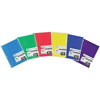 Mead Spiral 1-Subject Notebook, 8 x 10.5, College Ruled, 70 Sheets, Assorted Colors (05512)
