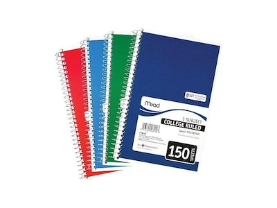 "Mead Spiral 3-Subject Notebook, 6"" x 9.5"", College Ruled, 150 Sheets, Assorted (06900)"