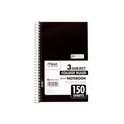 Mead Spiral 3-Subject Notebook, 6 x 9.5, College Ruled, 150 Sheets, Assorted, 12/Carton (06900)