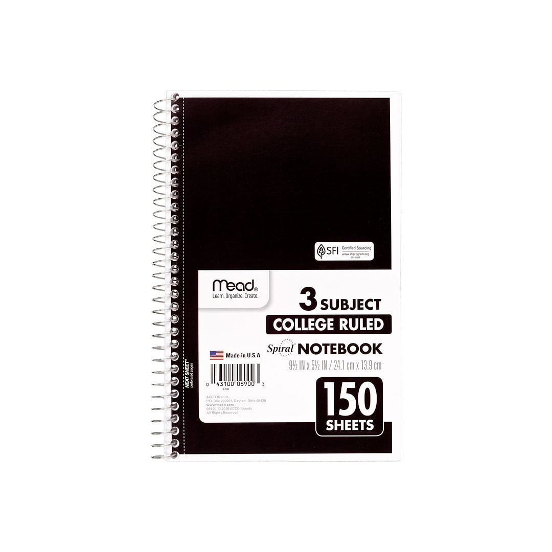Mead Spiral 3-Subject Notebook, 6