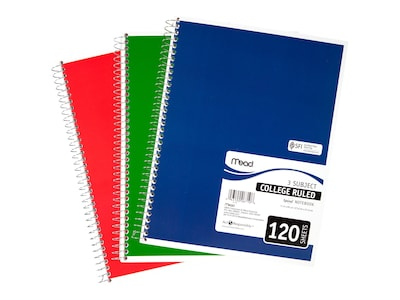 "Mead Spiral 3-Subject Notebook, 8.5"" x 11"", College Ruled, 120 Sheets, Assorted (06710)"