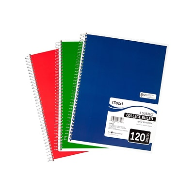 Mead Spiral 3-Subject Notebook, 8.5 x 11, College Ruled, 120 Sheets, Assorted (06710)