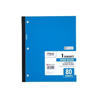 Mead Wireless Neatbook 1-Subject Notebook, 8 x 10.5, Wide Ruled, 80 Sheets, Assorted (05222)