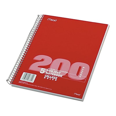 Mead Spiral 5-Subject Notebook, 8.5 x 11, College Ruled, 200 Sheets, Assorted (06780)