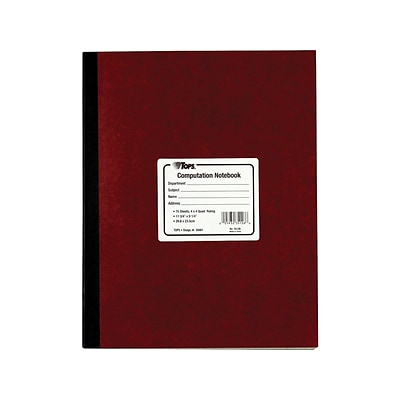 TOPS Computation Notebook, 9.5 x 11.75, Quad Ruled, 75 Sheets, Red (TOP 35126)