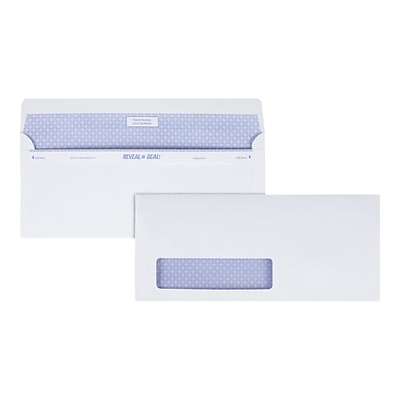 Quality Park Reveal-N-Seal Security Tinted #10 Business Envelope, 4 1/8 x 9 1/2, White Wove, 500/Box (67418)