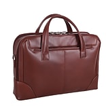 Mcklein Leather Dual Compartment Laptop Briefcase, Harpswell, Top Grain Cowhide Leather, Brown (8856