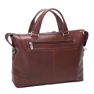 Mcklein Leather Slim Laptop Briefcase, Arcadia, Top Grain Cowhide Leather, Brown (88764)
