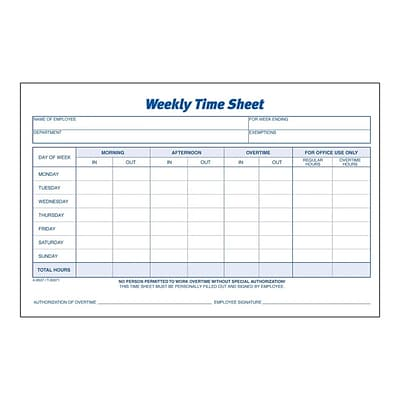 Adams Time Sheets, 100/Pad, 2 Pads/Pack (ABF 9507ABF)