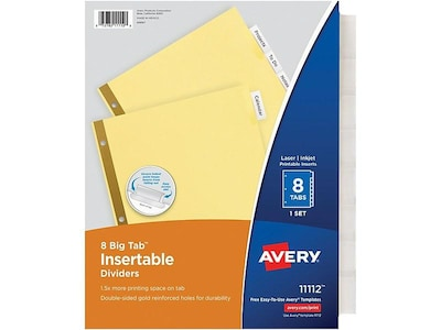 Avery Big Tab Insertable Paper Dividers, 8-Tab, Buff with Clear Tabs, Set (11112)