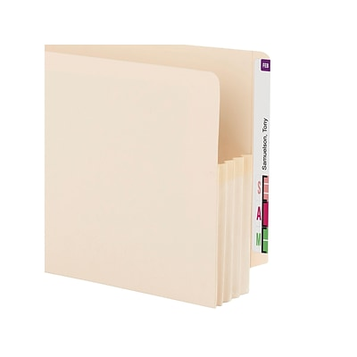 Smead End Tab File Pockets, Reinforced Straight Cut Tab, 3.5 Expansion, Legal Size, Manila, 25/Box (76124)